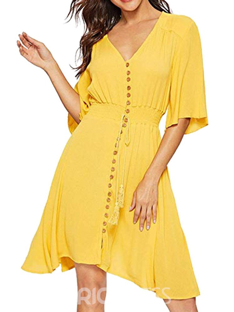 Ericdress Asymmetric Half Sleeve Knee-Length Summer Plain Dress