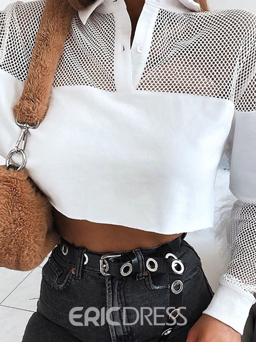 Ericdress Patchwork Hollow Polo Neck Short Casual T-Shirt