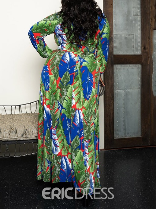 Ericdress Plus Size Plant Print Split Floor-Length High Waist Dress