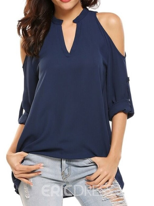 Ericdress V-Neck Pleated Plain Mid-Length Casual Blouse
