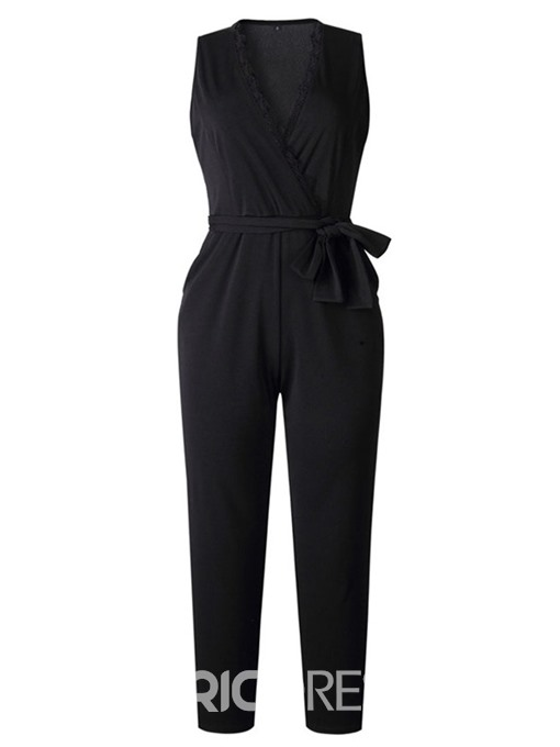 Ericdress Lace-Up Plain Full Length Harem Pants Loose Jumpsuit
