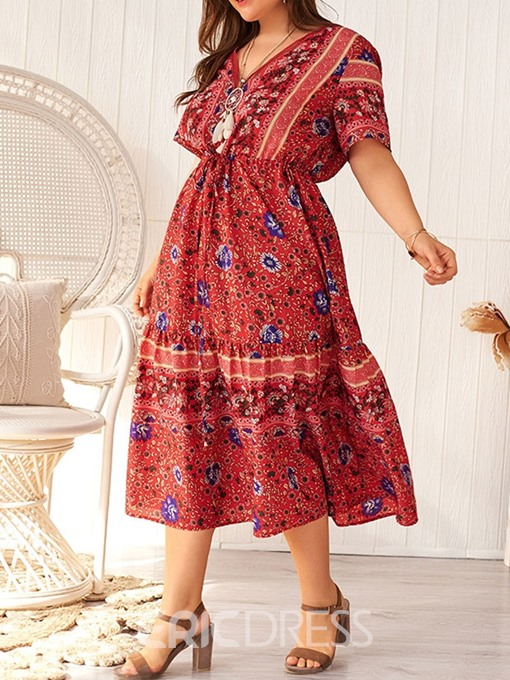 Ericdress Plus Size Floral V-Neck Print A-Line Floral High Waist Dress
