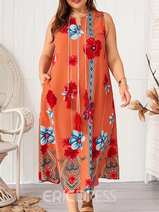 Ericdress Plus Size Floral Casual V-Neck Pocket Sleeveless Summer Dress