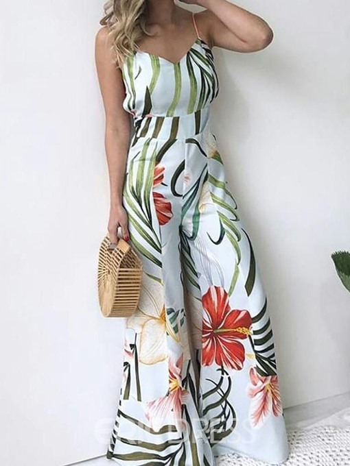 Ericdress Strap Print Casual High Waist Loose Jumpsuit