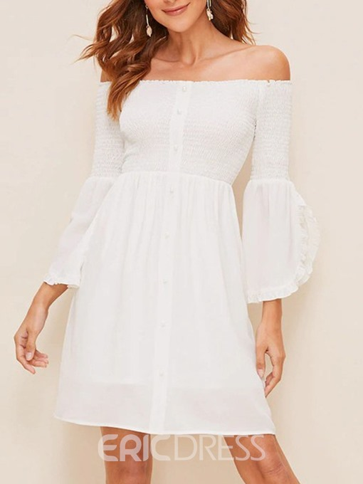 Ericdress Off Shoulder Flare Sleeve Date Night Above Knee A-Line Dress