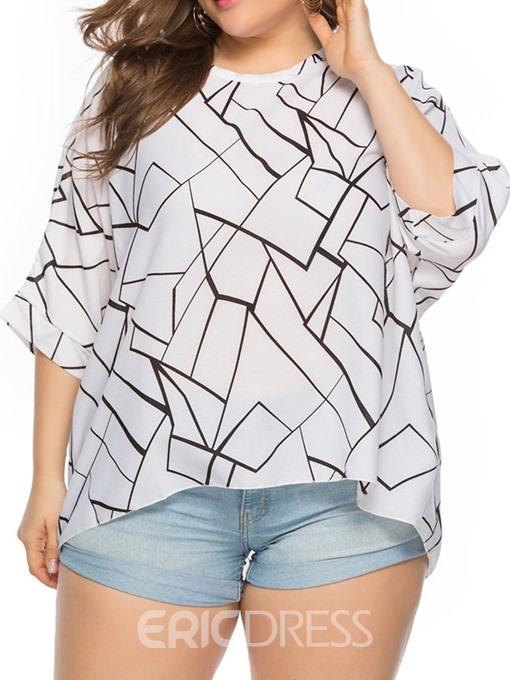 Ericdress Plus Size Round Neck Color Block Loose T-Shirt