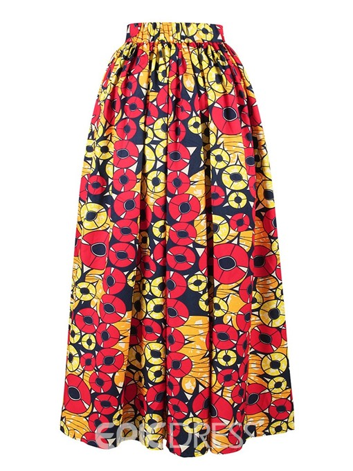 Ericdress Geometric Print A-Line Travel Look Skirt