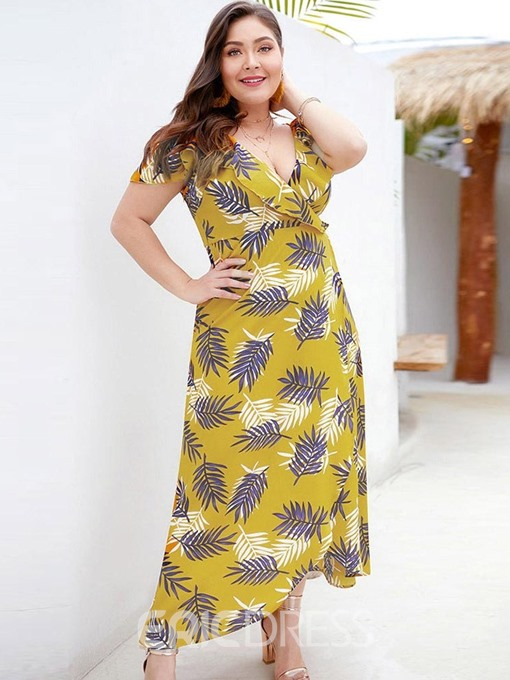 Ericdress Plus Size Short Sleeve Ankle-Length Falbala Asymmetrical High Waist Dress