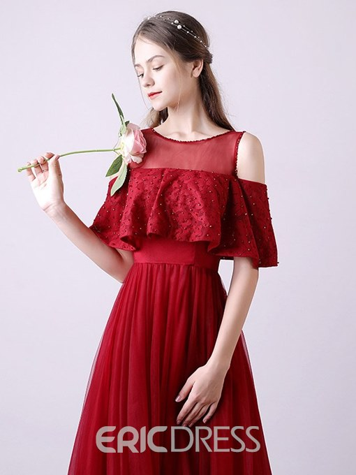 Ericdress Cold Shoulder Beading Lace Prom Dress