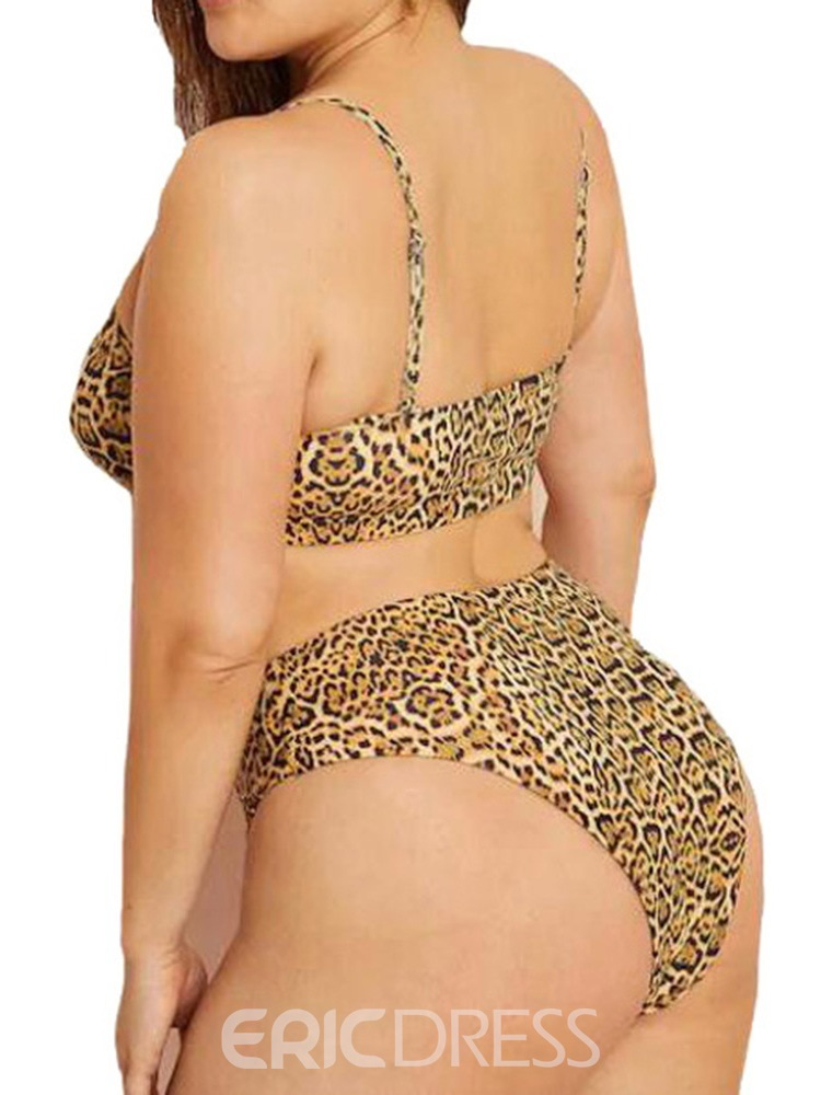 Ericdress Plus Size Leopard Color Block Stretchy Sexy Swimsuit