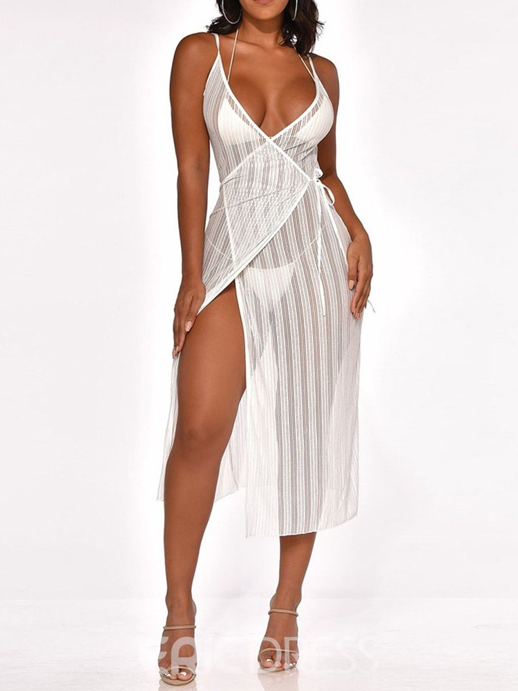 Ericdress See-Through Mid-Calf Sleeveless Sexy Lace-Up Dress