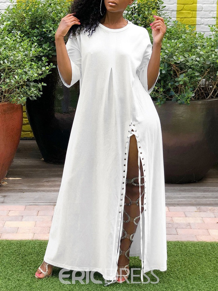 Ericdress Casual Split Round Neck Three-Quarter Sleeve Ankle-Length Dress