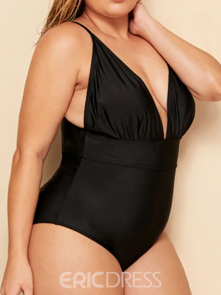 Ericdress Plus Size Pleated Stretchy Plain Sexy Swimwear