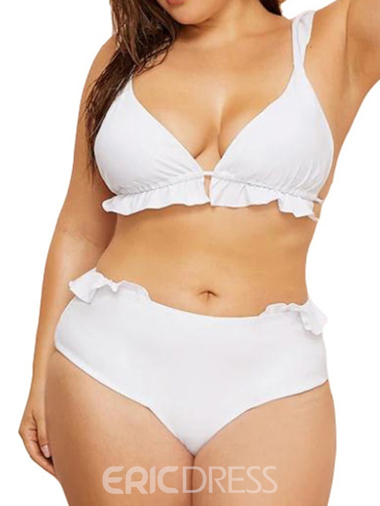 Ericdress Plus Size Patchwork Pleated Stretchy Sexy Swimsuit