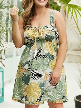Ericdress Plus Size Plant Print A-Line Lace-Up Sleeveless Above Knee Dress
