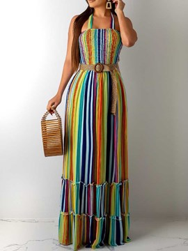Ericdress Pleated Color Block Floor-Length Sleeveless Maxi Dress
