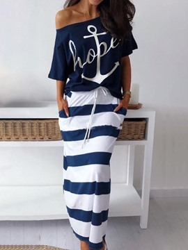 Ericdress Casual Print Stripe Pullover Bodycon Women's Suit T-Shirt And Skirt Two Piece Sets