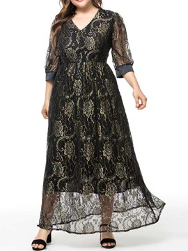 Ericdress Plus Size A-Line See-Through Print Ankle-Length V-Neck Dress