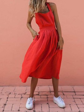 Ericdress A-Line Backless Pleated Sleeveless Sexy Mid Waist Red Dress