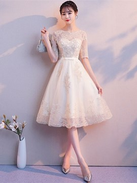 Ericdress Appliques Half Sleeves A-Line Scoop Homecoming Dress