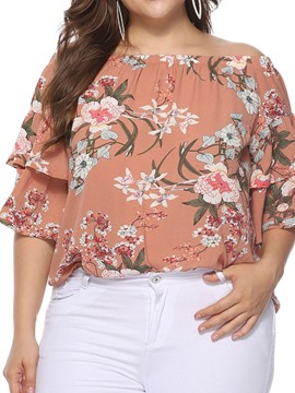 Ericdress Plus Size Off Shoulder Print Floral Half Sleeve Loose Blouse