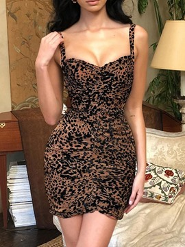 Ericdress Bodycon Leopard Above Knee Sleeveless Pleated Dress