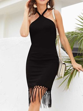 Ericdress Bodycon Plain Lace-Up Above Knee Sleeveless Little Black Dress