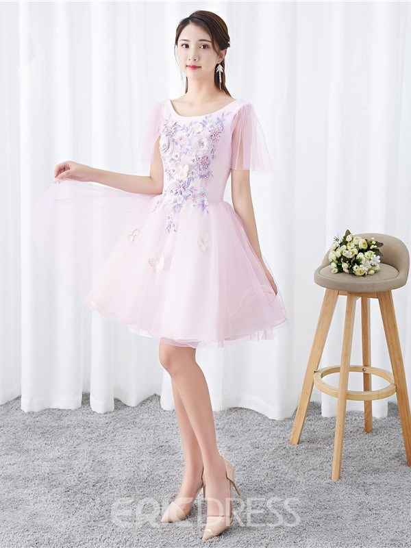 Ericdress Appliques Knee-Length Short Sleeves Scoop Homecoming Dress 2019