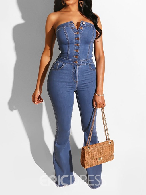 Ericdress Denim Button Plain High Waist Bellbottoms Jumpsuit