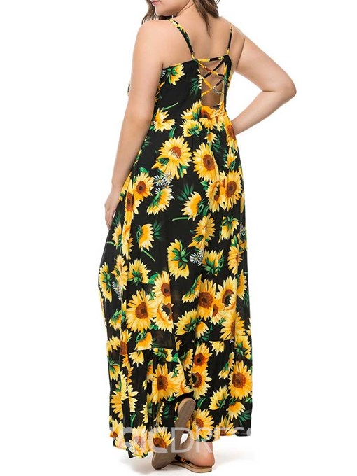 Ericdress Plus Size Floral Ankle-Length Sleeveless High Waist Dress