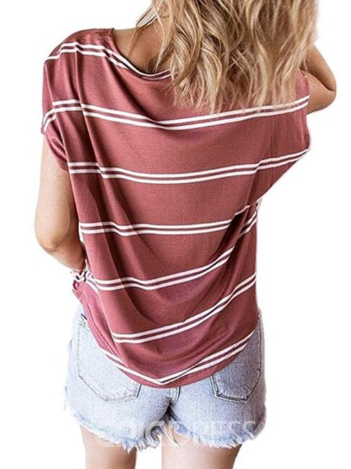Ericdress Short Sleeve Stripe Button Summer Casual T-Shirt
