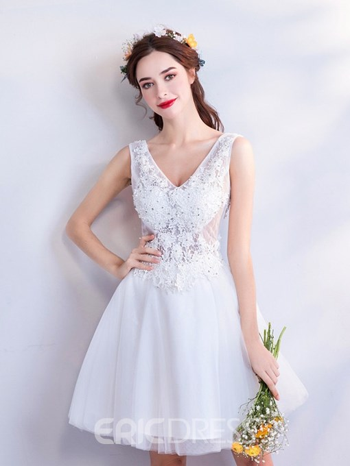 Ericdress Appliques Sleeveless A-Line V-Neck Homecoming Dress