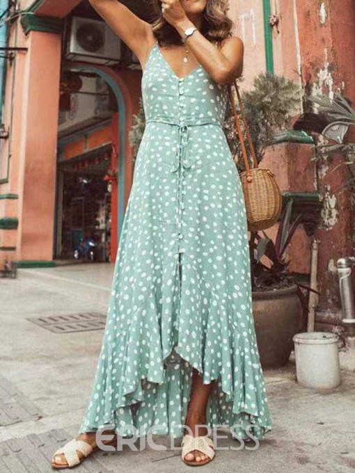 Ericdress Polka Dots Asymmetrical Floor-Length Sleeveless V-Neck Summer Dress