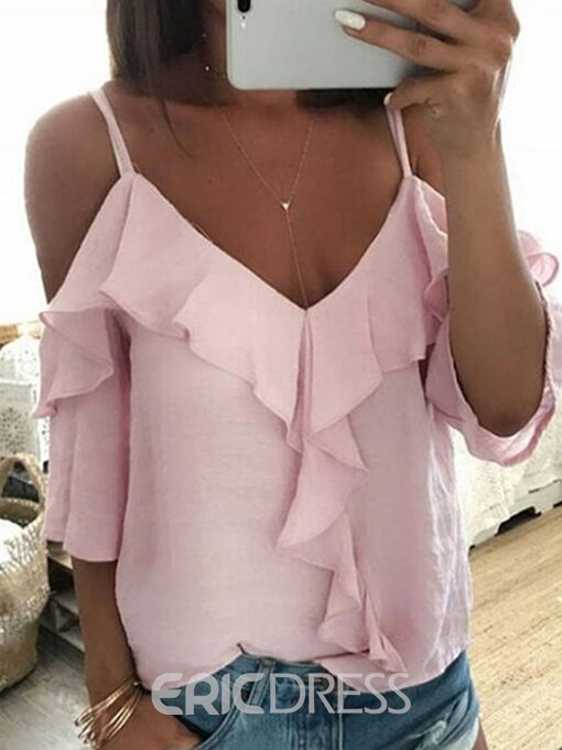 Ericdress Half Sleeve Off-Shoulder Ruffles Sleeves Casual T-Shirt
