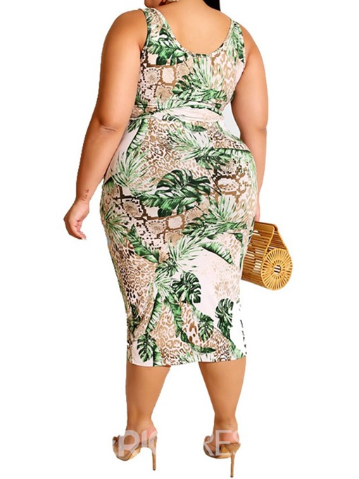 Ericdress Plus Size Casual Plant Lace-Up Pullover Sheath Two Piece Sets