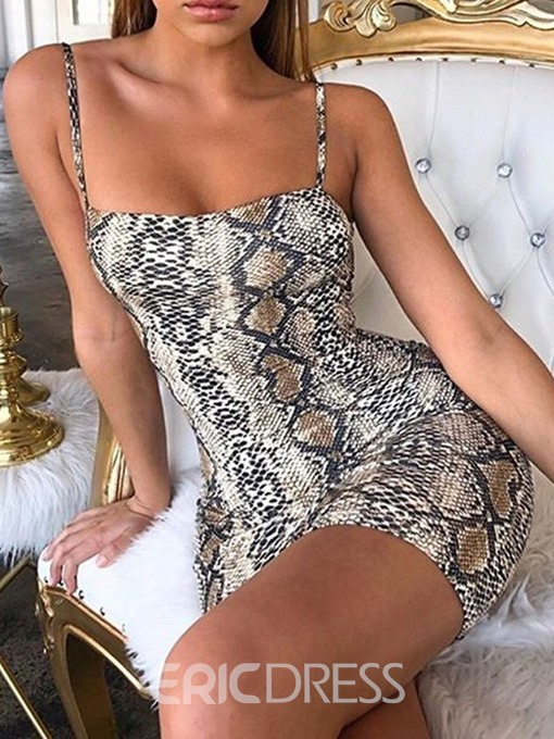 Ericdress Snake Print Above Knee Sleeveless Sexy Bodycon Dress