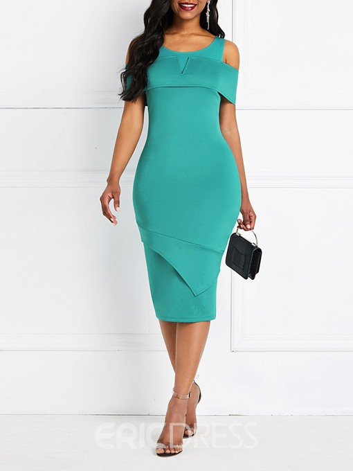 Ericdress Split Half Sleeve Mid-Calf Bodycon Pullover Dress