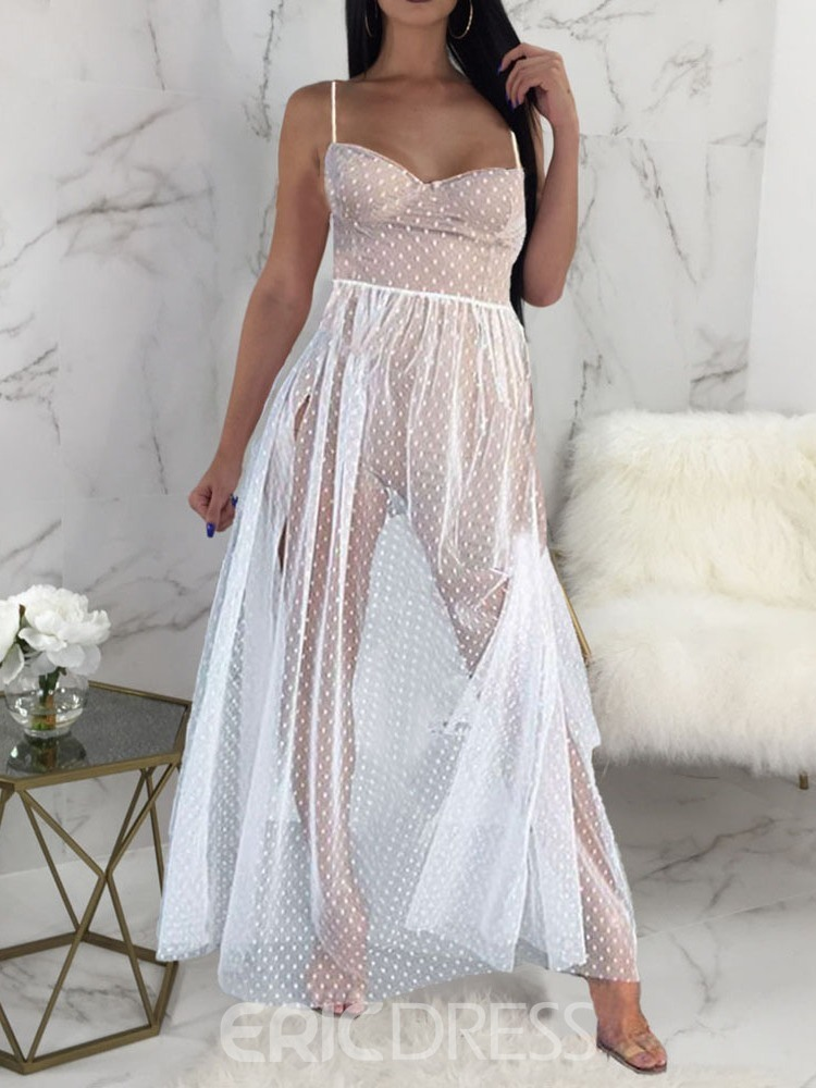 Ericdress See-Through Polka Dots Sexy Sleeveless Split Floor-Length Dress