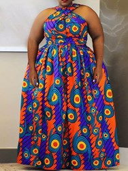 Ericdress Plus Size African Fashion Floor-Length Sleeveless High Waist Dress