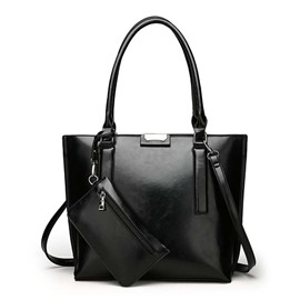 Ericdress Leather Plain Thread Square Handbag