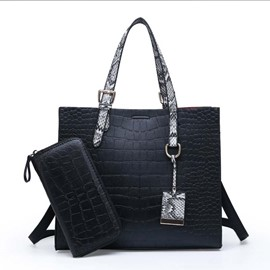Ericdress Alligator Embossing PU Square Handbag(Pendant Pattern is Random)