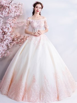 Ericdress Off-The-Shoulder Beading Ball Gown Half Sleeves Quinceanera Dress 2019