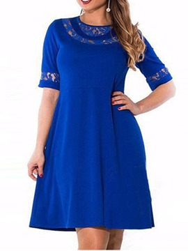 Ericdress Plus Size Hollow A-Line Patchwork Above Knee Round Neck Dress