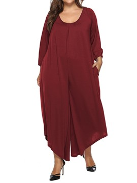 Ericdress Plus Size Asymmetrical Lace-Up Plain Loose Wide Legs Jumpsuit