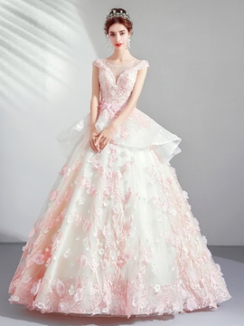 Ericdress Ball Gown Floor-Length Cap Sleeves Scoop Quinceanera Dress