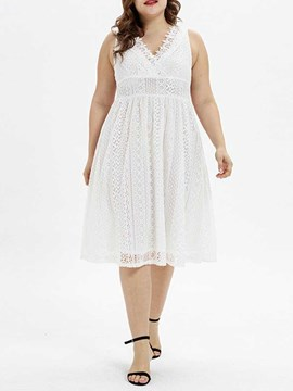 Ericdress Plus Size Lace A-Line V-Neck Mid-Calf Hollow Pullover Dress