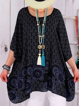 Ericdress Asymmetric Round Neck Floral Loose T-Shirt
