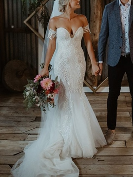 Ericdress Sweetheart Lace Appliques Mermaid Wedding Dress 2019