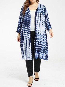 Ericdress Plus Size Tie-Dye Wrapped Long Casual Trench Coat