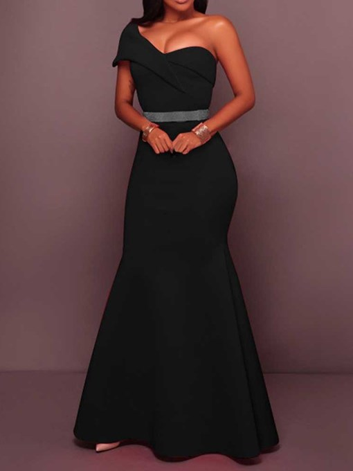 Ericdress One-Shoulder Floor-Length Backless Single Little Black Dress(Without Waistband)